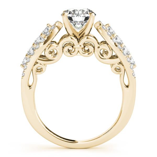 Three Row Diamond Engagement Ring with Filigree Design in Yellow Gold