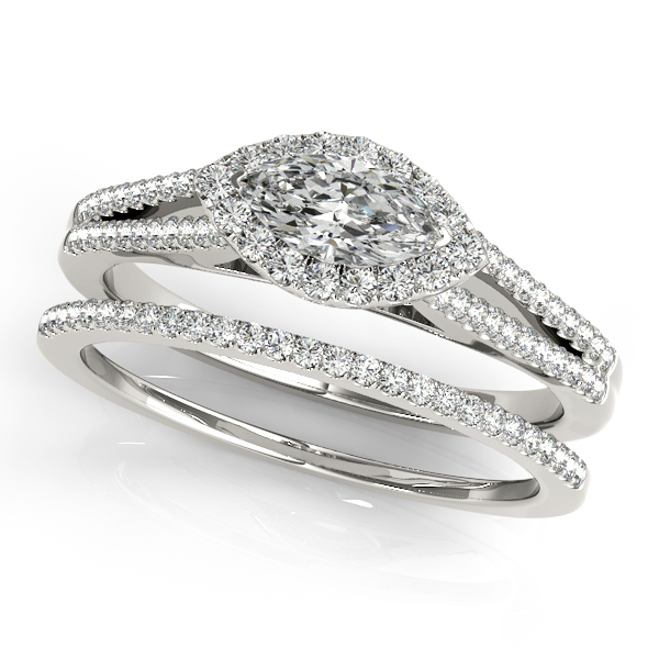 Horizontal Marquise Diamond Halo Engagement Ring with Split Band & Matching Wedding Band