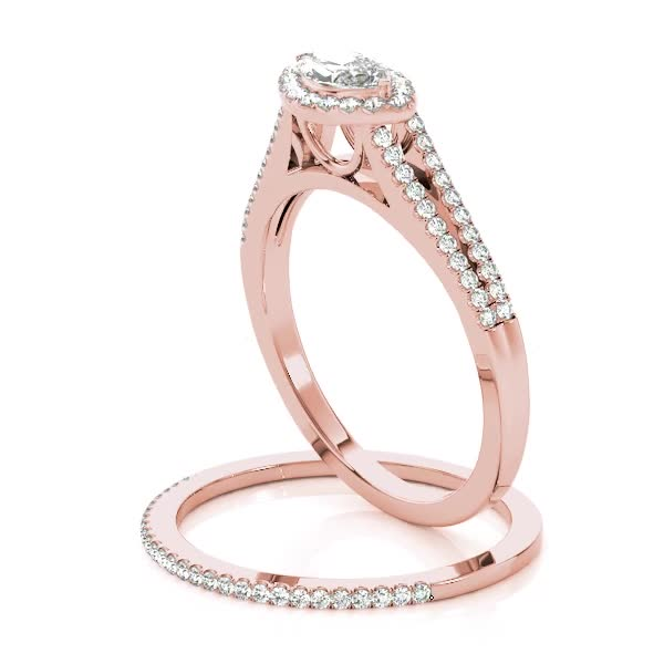 Horizontal Marquise Diamond Halo Engagement Ring with Split Band & Matching Wedding Band in Rose Gold