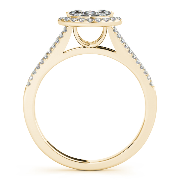 Horizontal Marquise Diamond Halo Engagement Ring with Split Band & Matching Wedding Band in Yellow Gold