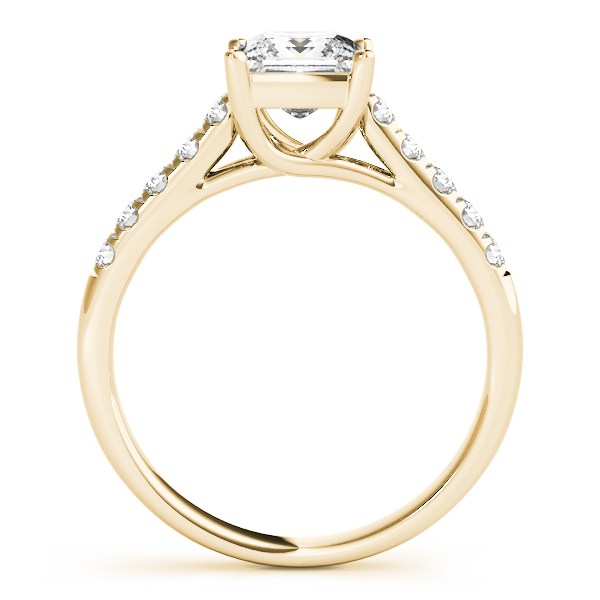 Petite Princess Cut Diamond Cathedral Trellis Engagement Ring in Yellow Gold
