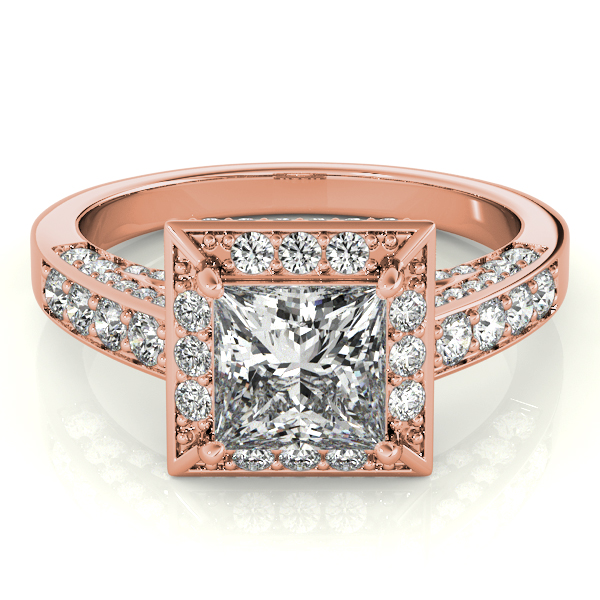Square Diamond Halo Cathedral Legacy Design Engagement Ring in Rose Gold