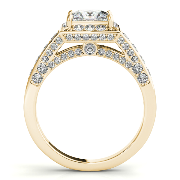 Square Diamond Halo Cathedral Legacy Design Engagement Ring in Yellow Gold