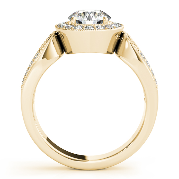 Diamond Halo Engagement Ring with Split Horseshoe Band in Yellow Gold
