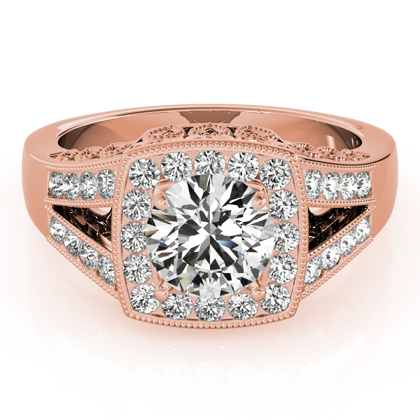 Square Diamond Halo Engagement Ring with Split Band & Filigree Accents in Rose Gold