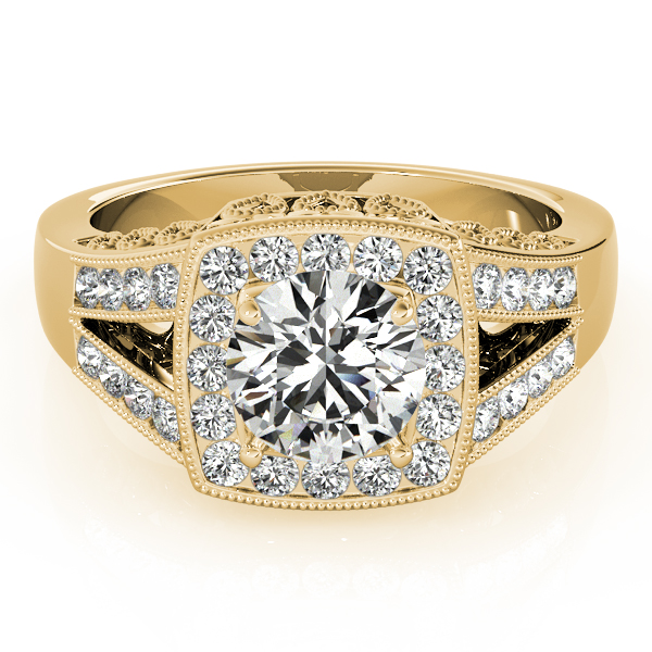 Square Diamond Halo Engagement Ring with Split Band & Filigree Accents in Yellow Gold