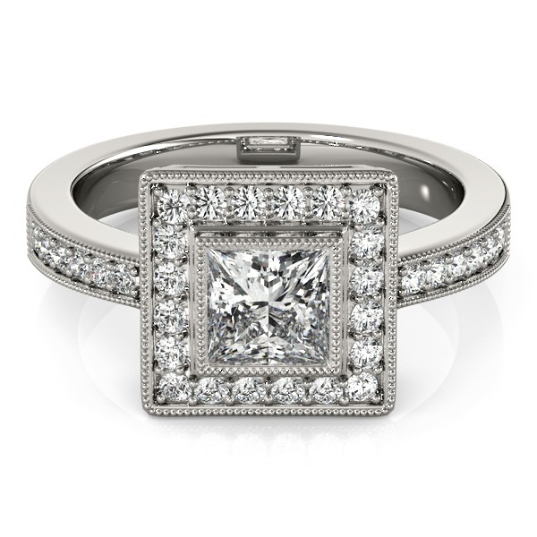 Princess Cut Diamond Engagement Ring with Filigree