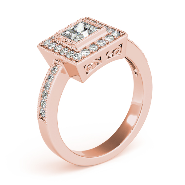 Princess Cut Diamond Engagement Ring with Filigree in Rose Gold