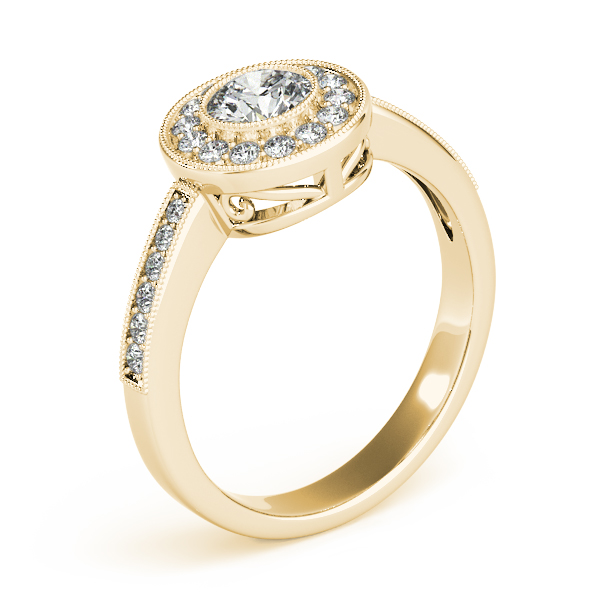 Diamond Halo Engagement Ring with Filigree in Yellow Gold