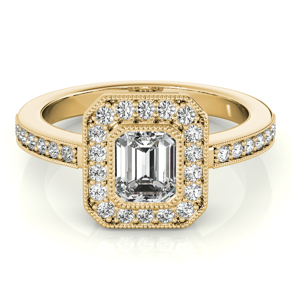 Emerald Cut Diamond Engagement Ring with Filigree in Yellow Gold