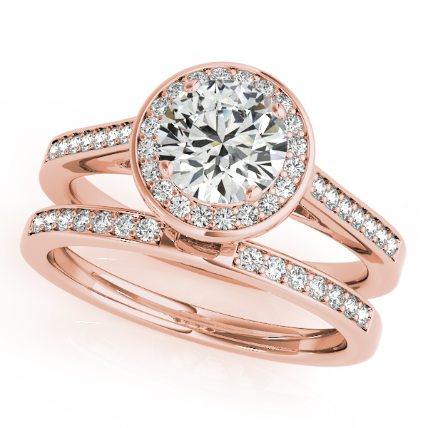 Halo Diamond Cathedral Bridal Set with Surprise Diamond in Rose Gold