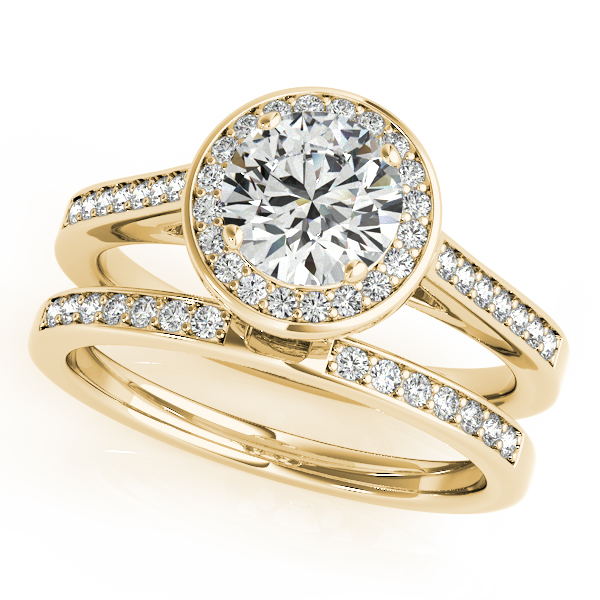 Halo Diamond Cathedral Bridal Set with Surprise Diamond in Yellow Gold