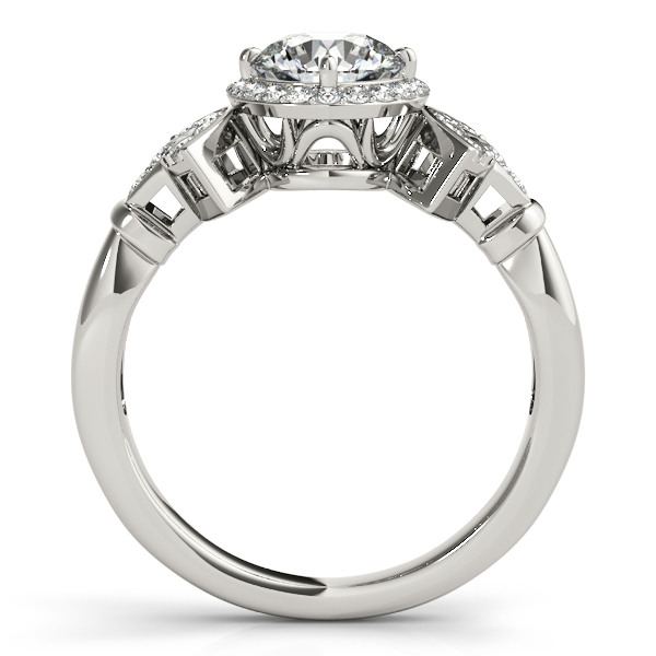 Diamond Halo Engagement Ring with Accents Forming a Fan Design
