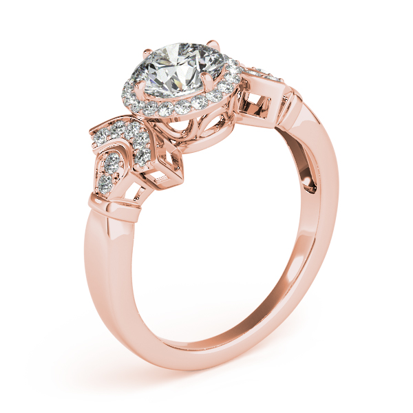 Diamond Halo Engagement Ring with Accents Forming a Fan Design in Rose Gold