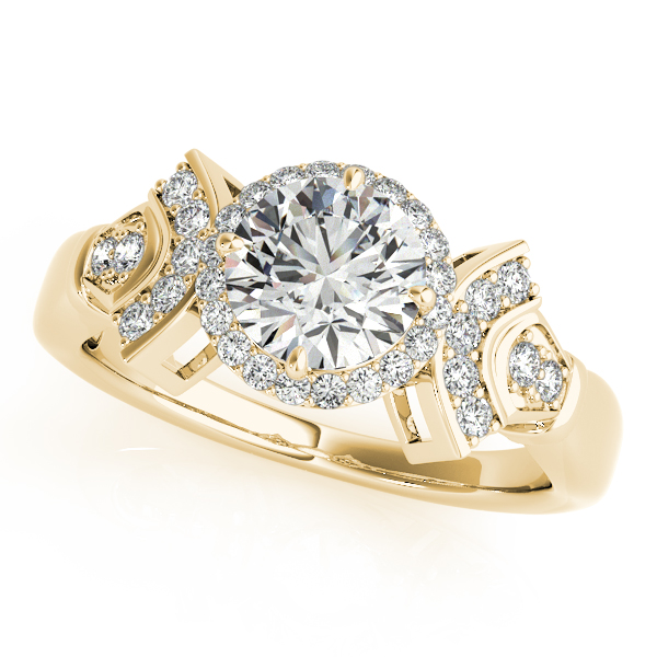 Diamond Halo Engagement Ring with Accents Forming a Fan Design in Yellow Gold