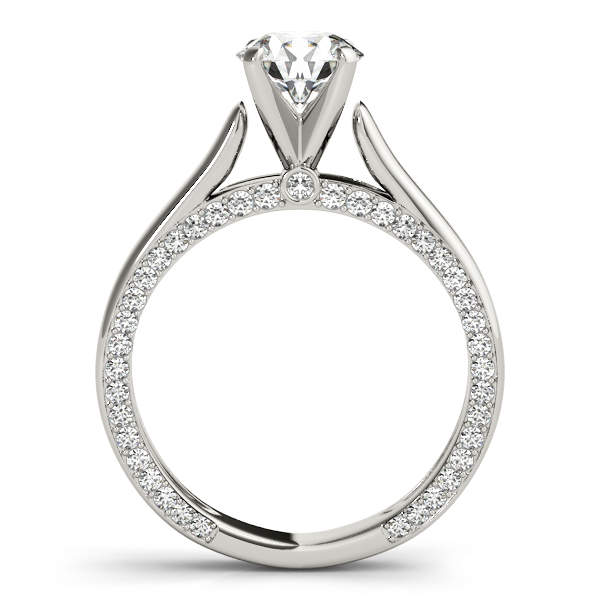 Solitaire Cathedral Engagement Ring with Diamond Accents