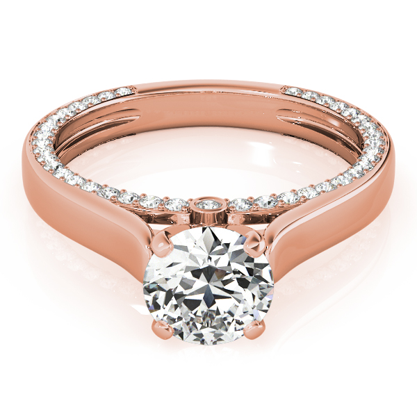 Solitaire Cathedral Engagement Ring with Diamond Accents in Rose Gold