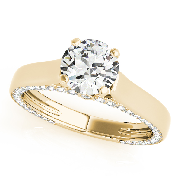 Solitaire Cathedral Engagement Ring with Diamond Accents in Yellow Gold