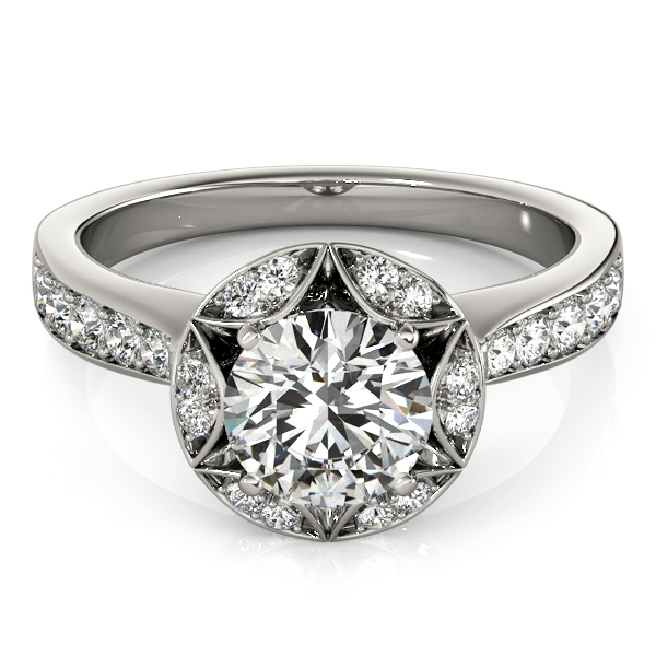 Star of David Crown Diamond Halo Engagement Ring