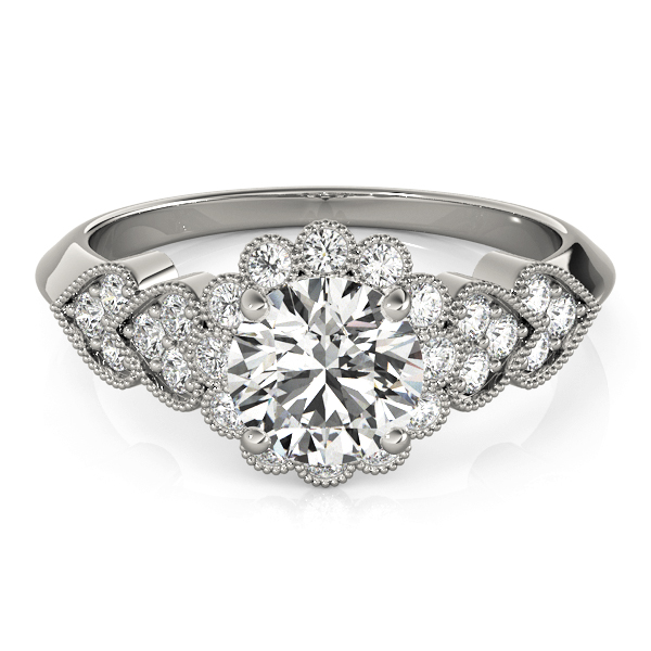 Floral Halo Diamond Engagement Rings with Heart Shape Accent