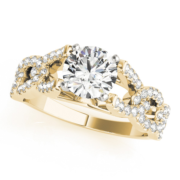 Link Infinity Diamond Cathedral Engagement Ring in Yellow Gold