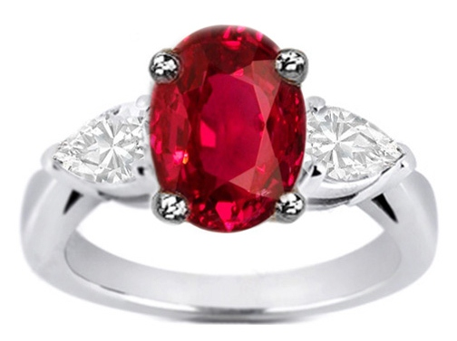 Oval Ruby & Pear-Shape Diamond Engagement Ring Like Jessica Simpson