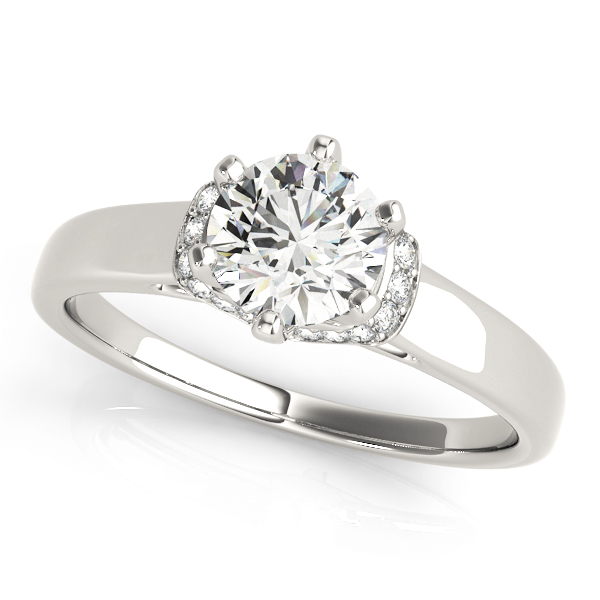 Solitaire Diamond Engagement Ring  with Pave Collar