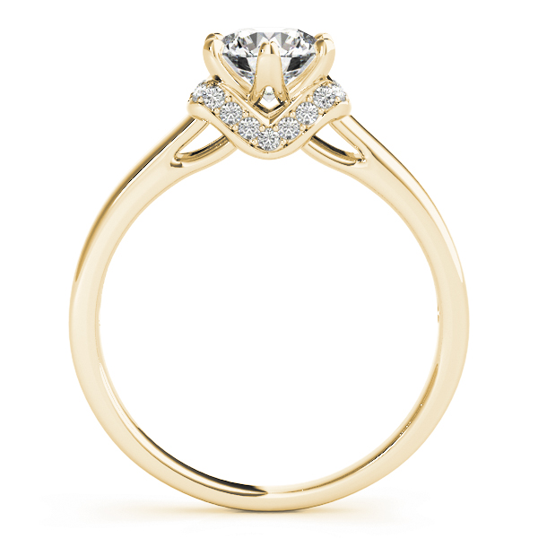 Solitaire Diamond Engagement Ring  with Pave Collar in Yellow Gold