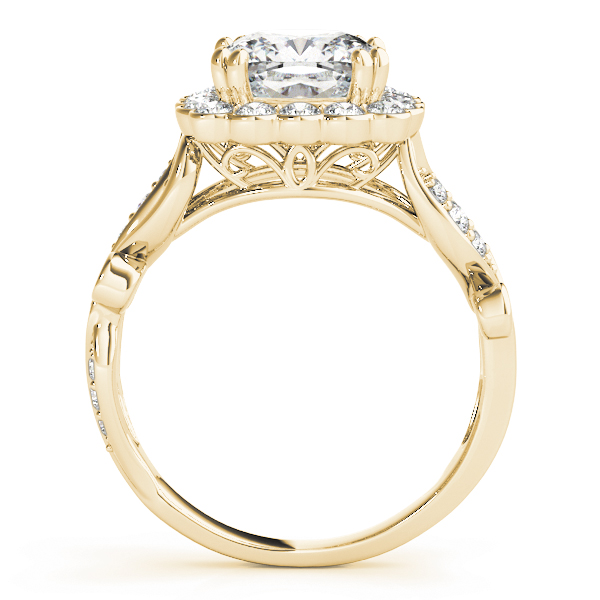 Square Floral Vine Diamond Halo Engagement Ring in Yellow Gold