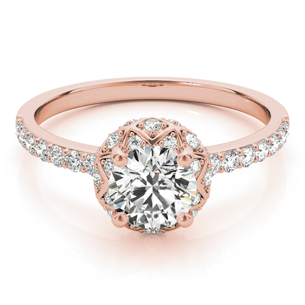 Petite Crown Halo Diamond Engagement Ring in Rose Gold