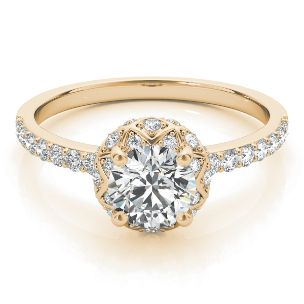 Petite Crown Halo  Diamond Engagement Ring in Yellow Gold