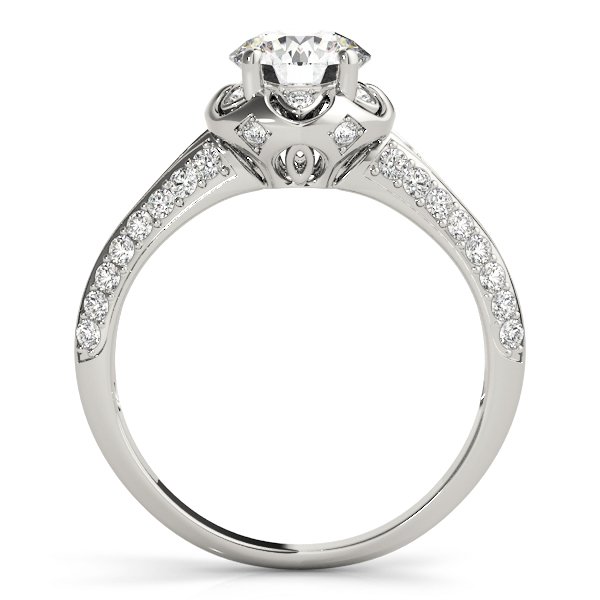 Floral Halo Diamond Engagement Ring with Knife Edge Band