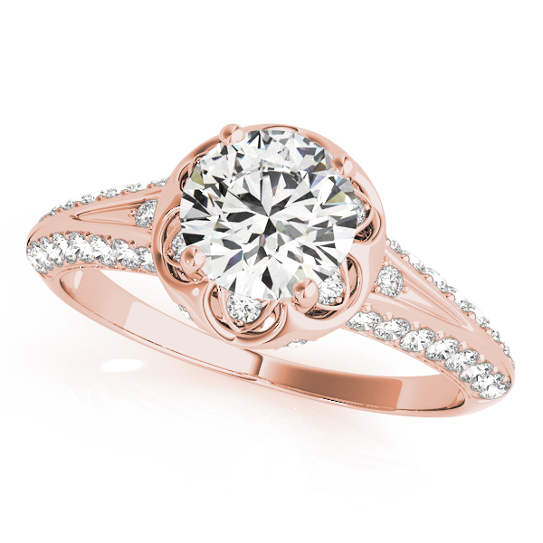 Floral Halo Diamond Bridal Set with Knife Edge Band in Rose Gold