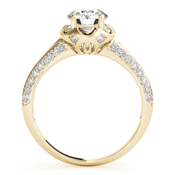 Floral Halo Diamond Engagement Ring with Knife Edge Band in Yellow Gold