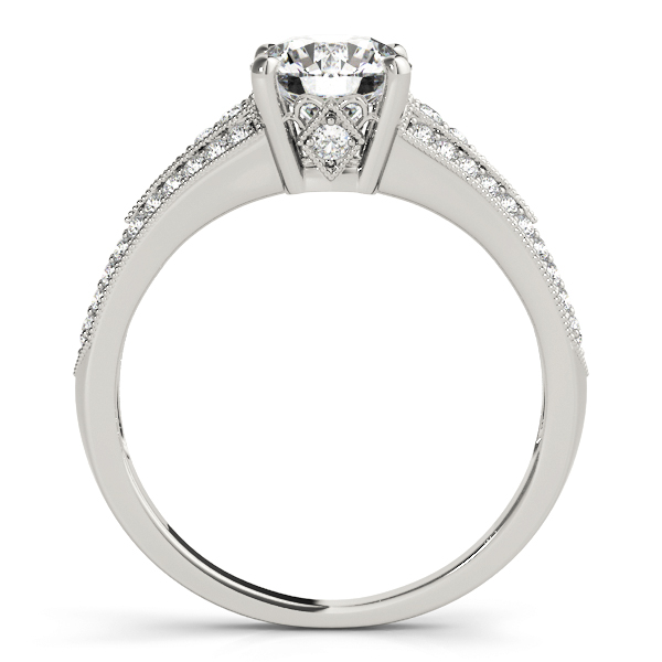 Petite Vintage Diamond Engagement Ring with Milligrain