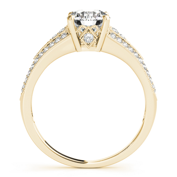 Petite Vintage Diamond Engagement Ring with Milligrain in Yellow Gold