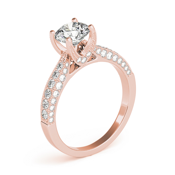 Cathedral Diamond Vintage Engagement Ring in Rose Gold