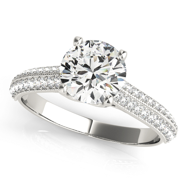 Cathedral Diamond Knife Edge Vintage Engagement Ring