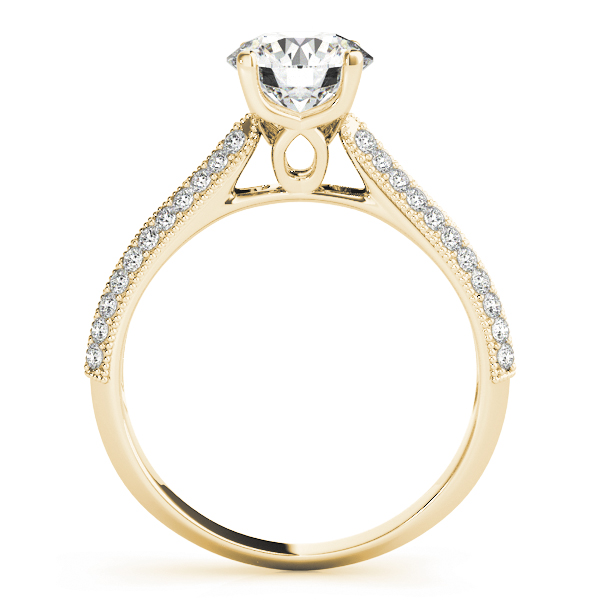 Cathedral Diamond Knife Edge Vintage Engagement Ring in Yellow Gold