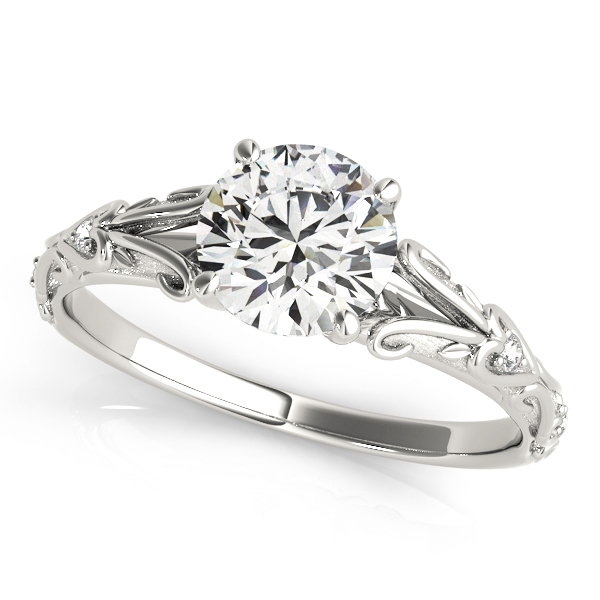 Split Band Cathedral Engraved Petite Diamond Engagement Ring