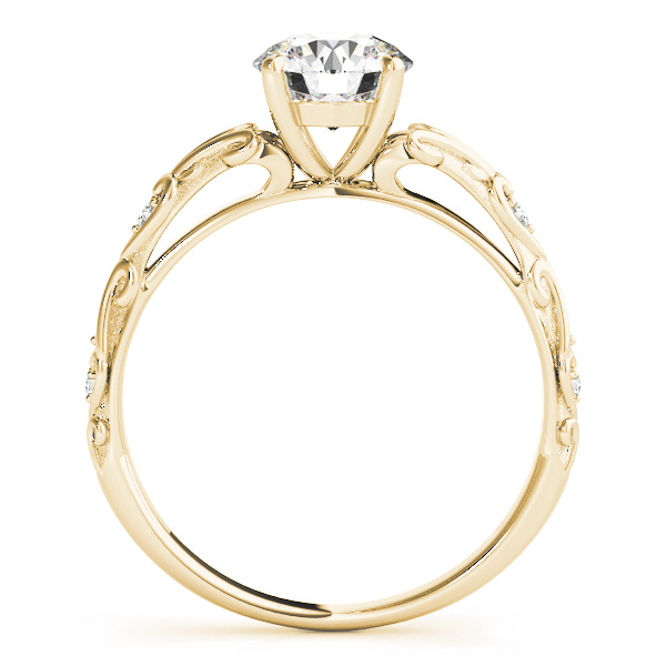 Split Band Cathedral Engraved Petite Diamond Engagement Ring in Yellow Gold