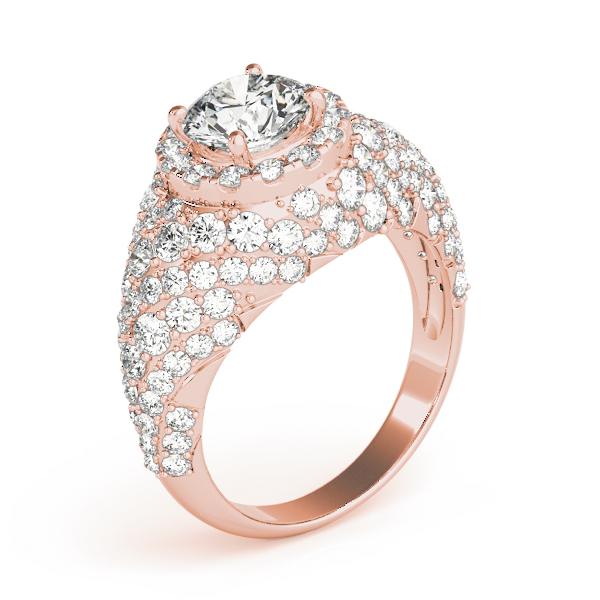 Large Halo Diamond Etoile Engagement Anniversary Ring in Rose Gold