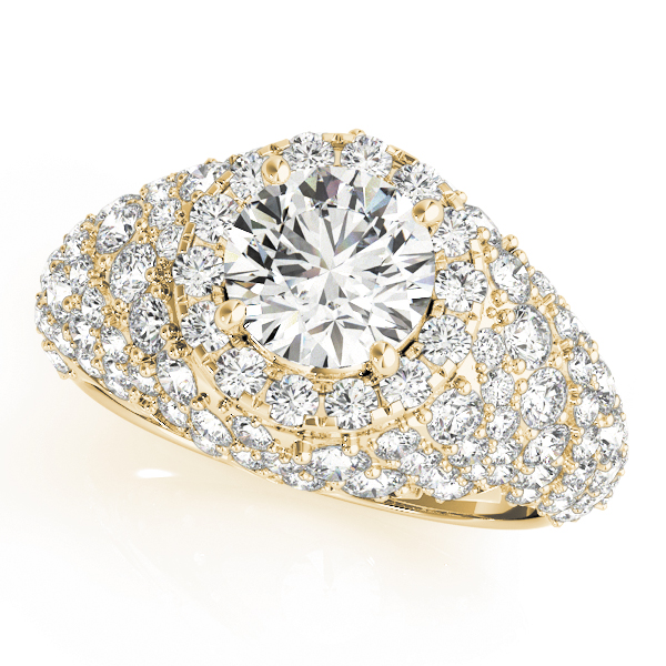 Large Halo Diamond Etoile Engagement Anniversary Ring in Yellow Gold
