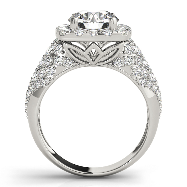 Large Square Halo Diamond Engagement Ring with Filigree