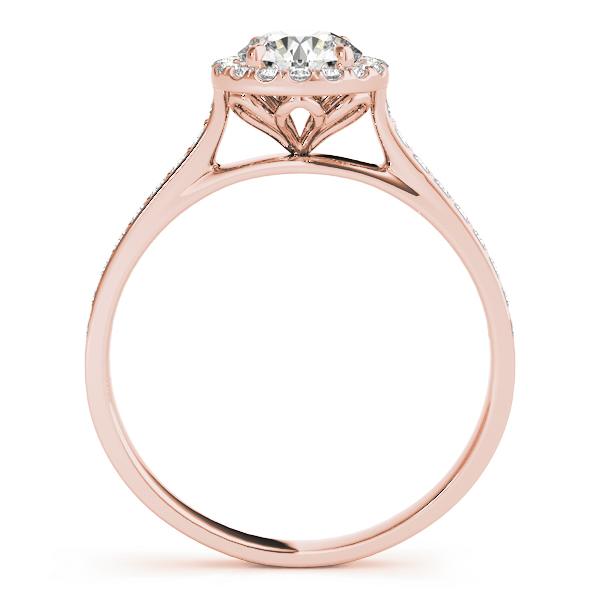 Classic Halo Diamond Cathedral Engagement Ring in Rose Gold