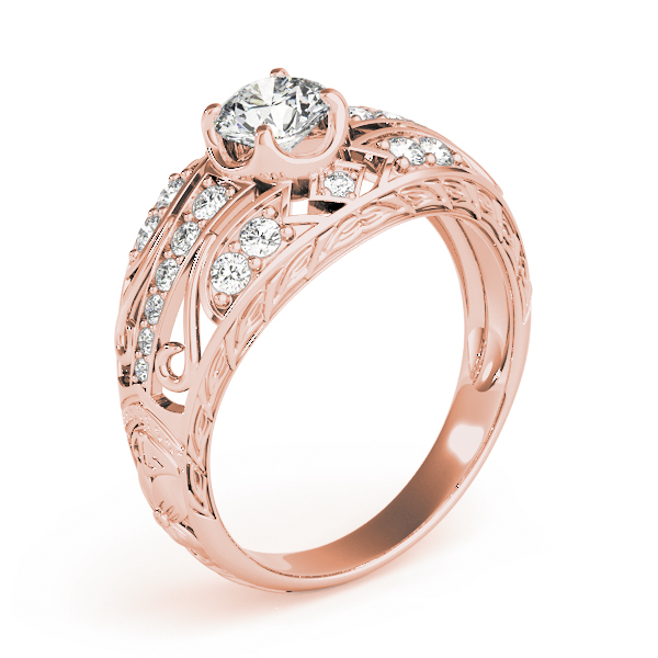 Engraved Dome Diamond Engagement Ring with Filigree in Rose Gold