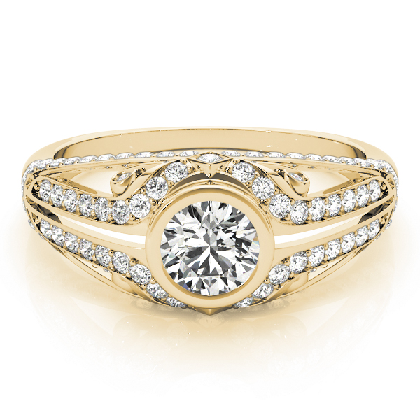 Bezel Diamond Contour Engagement Ring in Yellow Gold