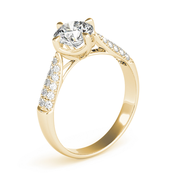 Cathedral Tapered Etoil Diamond Engagement Ring in Yellow Gold