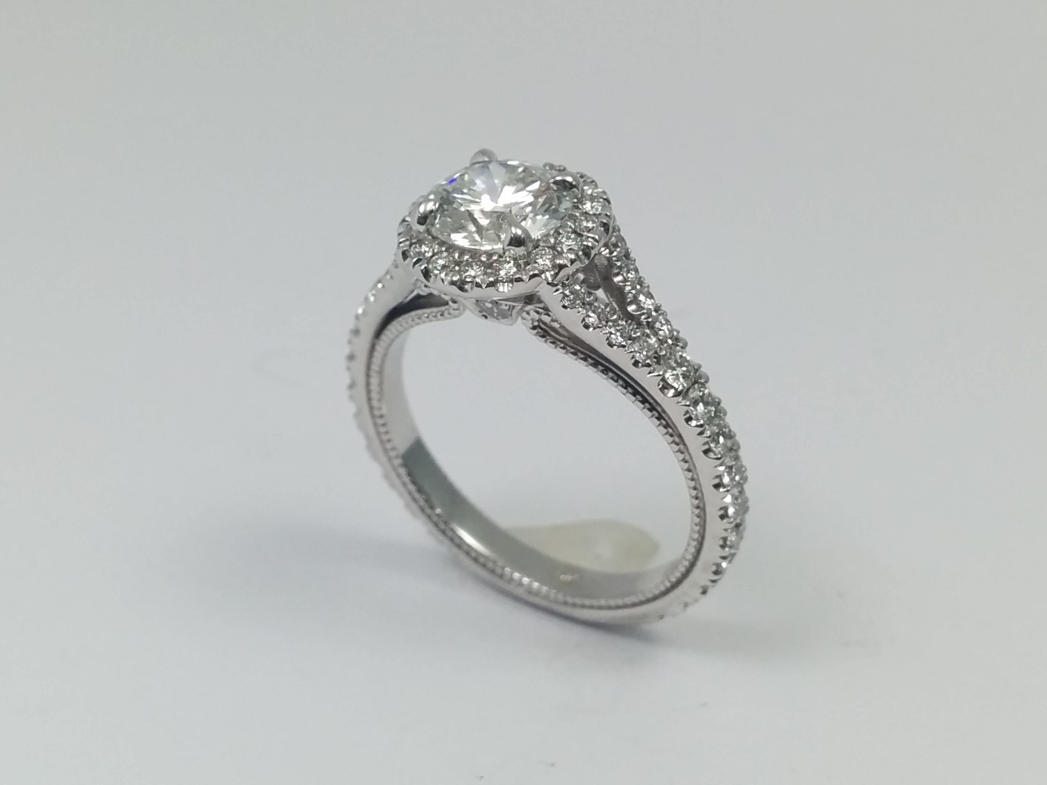 Cathedral Halo Diamond Engagement Ring