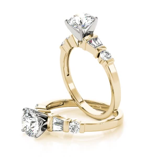 Classic Baguette & Round Diamond Ring in Yellow Gold